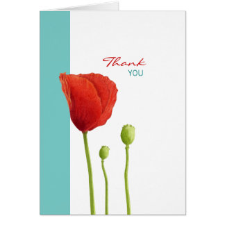 Red Poppy teal Thank You Note Card
