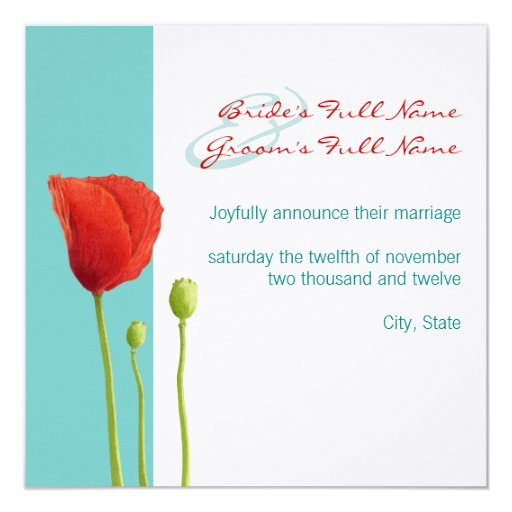 Red Poppy teal Wedding Announcement