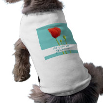 Red Poppy teal Wedding Dog T-shirt