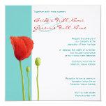 Red Poppy teal Wedding Invitation