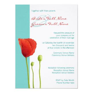 Red Poppy teal Wedding Invitation 2
