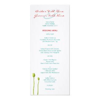 Red Poppy teal Wedding Menu Card