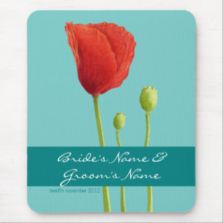 Red Poppy teal Wedding Mousepad