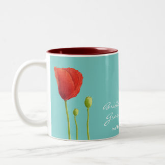 Red Poppy teal Wedding Mug
