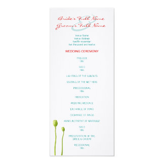 Red Poppy teal Wedding Program Card