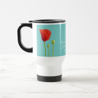 Red Poppy teal Wedding Travel Mug