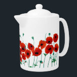 "Red Poppy Teapot<br><div class=""desc"">Poppy Teapot,  lovely bright red flowers with gentle green stems. Medium sized tea pot,  bring it out when guests arrive,  use in the garden when the sunshine is out,  or even on your shelf it will look delightfull.</div>"