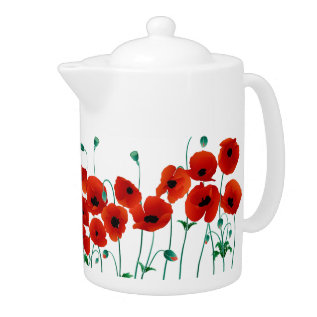 Red Poppy Teapot at Zazzle
