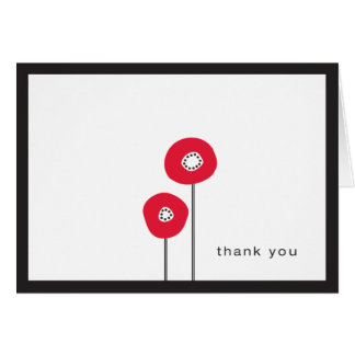 Red Poppy thank you note Card