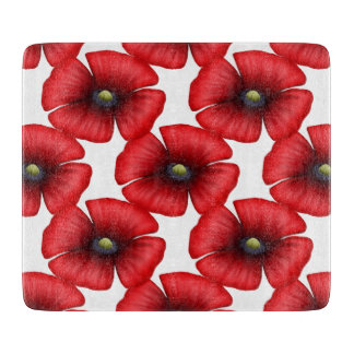 Red Poppy tiled Chopping Board