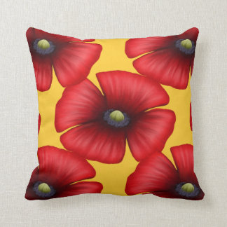 Red Poppy Tiled Throw Pillow - double sided