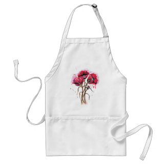 Red Poppy Watercolor Aprons