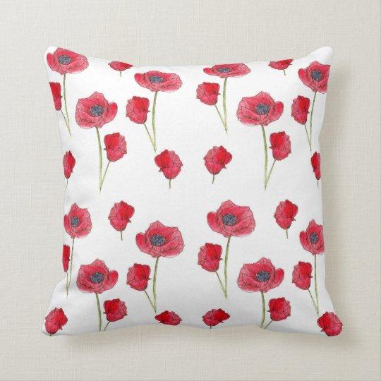 Red Poppy Watercolor Flower Botanical Art Pillow