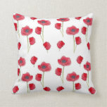 Red Poppy Watercolor Flower Botanical Art Pillow