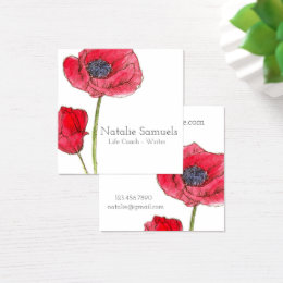Red Poppy Watercolor Flower Square Business Card