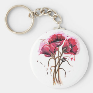 Red Poppy Watercolor Basic Round Button Keychain
