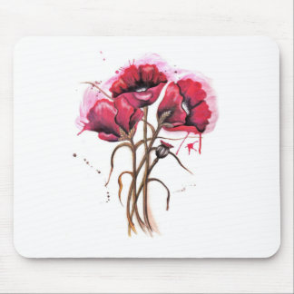 Red Poppy Watercolor Mouse Pad