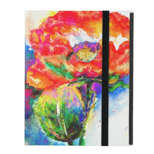 Red Poppy watercolor painting iPad Case