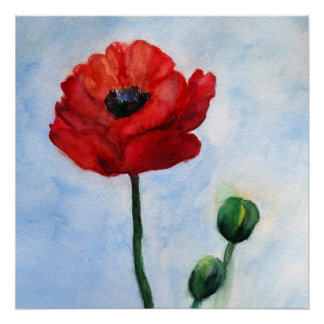Red poppy watercolor Poster Paper (Semi-Gloss)