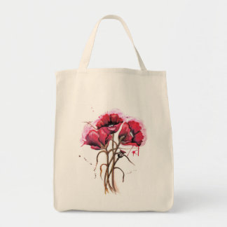 Red Poppy Watercolor Tote Bag