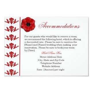 Red Poppy Wedding Accommodations Cards