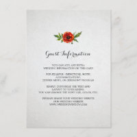 Red Poppy Wedding Insert Card