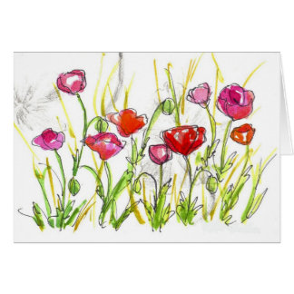 Red Poppy Wildflower Note Card Watercolor Art