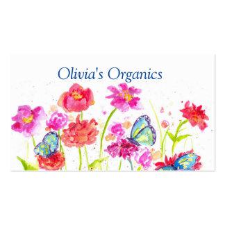 Red Poppy Wildflowers Butterflies Business Card