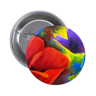 Red Poppy With Butterfly Art - Multi Pinback Button
