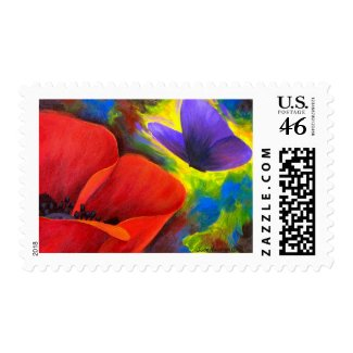 Red Poppy With Butterfly Art - Multi stamp