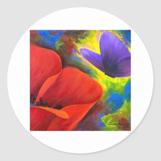Red Poppy With Butterfly Art - Multi Classic Round Sticker