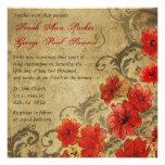 Red Poppy with Flourishes Vintage Wedding Announcements