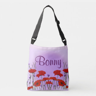 Red Poppy with Purple Bachelor Buttons Flowers Crossbody Bag