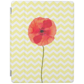 Red poppy yellow and white chevron pattern iPad smart cover