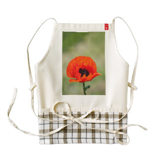 Red poppy zazzle HEART apron
