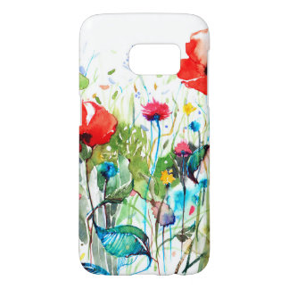 Red Poppy's Watercolors & Colorful Flowers Samsung Galaxy S7 Case