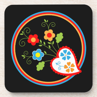 Red Portuguese heart with flowers Drink Coasters