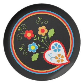 Red Portuguese heart with flowers Plate