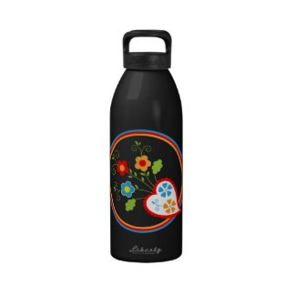 Red Portuguese heart with flowers Water Bottle