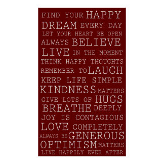 Red Positive Thoughts Inspirational Words Poster