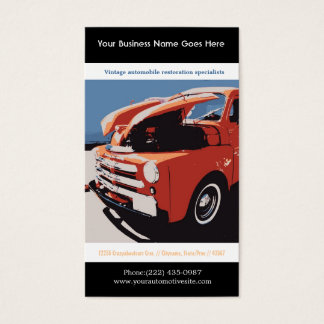 Red Posterized Style Restored Vintage Truck Business Card