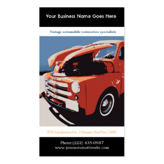 Red Posterized Style Restored Vintage Truck Business Cards