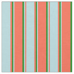 [ Thumbnail: Red, Powder Blue & Green Colored Stripes Pattern Fabric ]