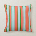 [ Thumbnail: Red, Powder Blue & Green Colored Stripes Pattern Throw Pillow ]