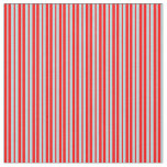 [ Thumbnail: Red & Powder Blue Lines Fabric ]