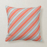 [ Thumbnail: Red & Powder Blue Stripes/Lines Pattern Pillow ]