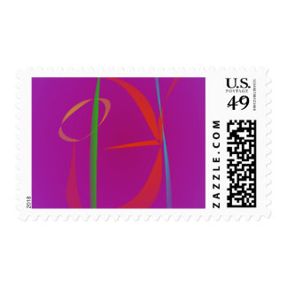 Red Prawn Abstract Image Postage Stamp
