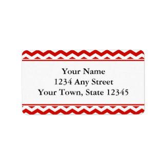 Red Pre-Printed Chevron Envelope Address Labels
