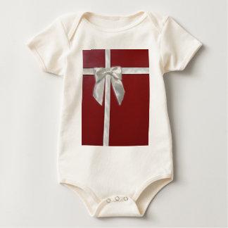 red present baby bodysuit