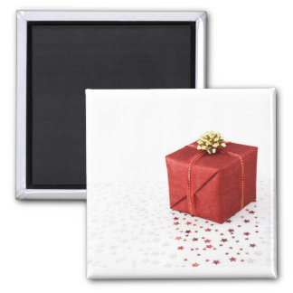 Red Present 2 Inch Square Magnet